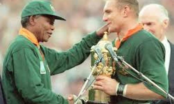 Mandela reconciles and unites all of South Africa through sport